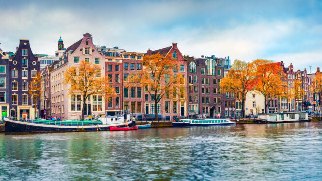 Photo of Amsterdam canal and buildings