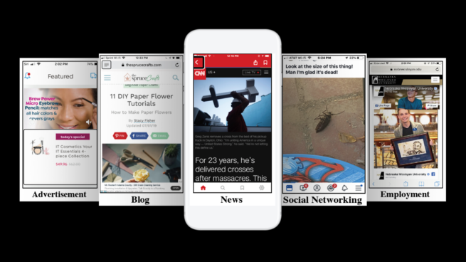 Screenshots from five categories of websites used in the study: a news site (showing a CNN article), a social networking site (showing a personal image and funny caption, an employment site (for jobs at Nebraska Wesleyan University), an advertisement (showing a woman applying makeup), and a blog (showing a DIY tutorial for crafts).