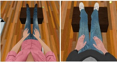 Two examples of a first-person point of view if a user were looking down at their avatar bodies.