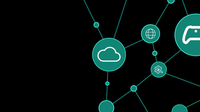 white illustrations of a cloud, game controller, gear, brain, and mouse in green circles on a black background for Microsoft Research & XBOX's AI and Gaming Research Summit