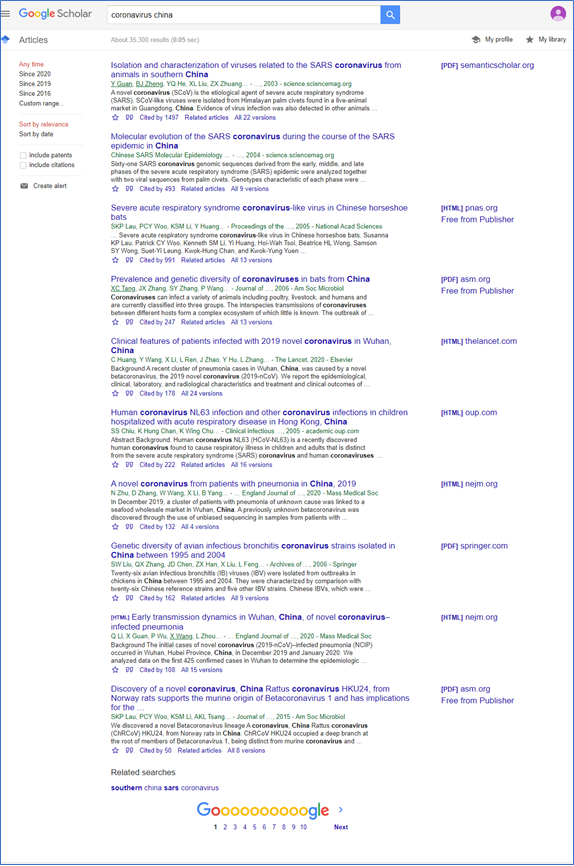 Google Scholar papers on Coronavirus