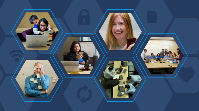 A collage of information workers displaying a range of emotions while at work.