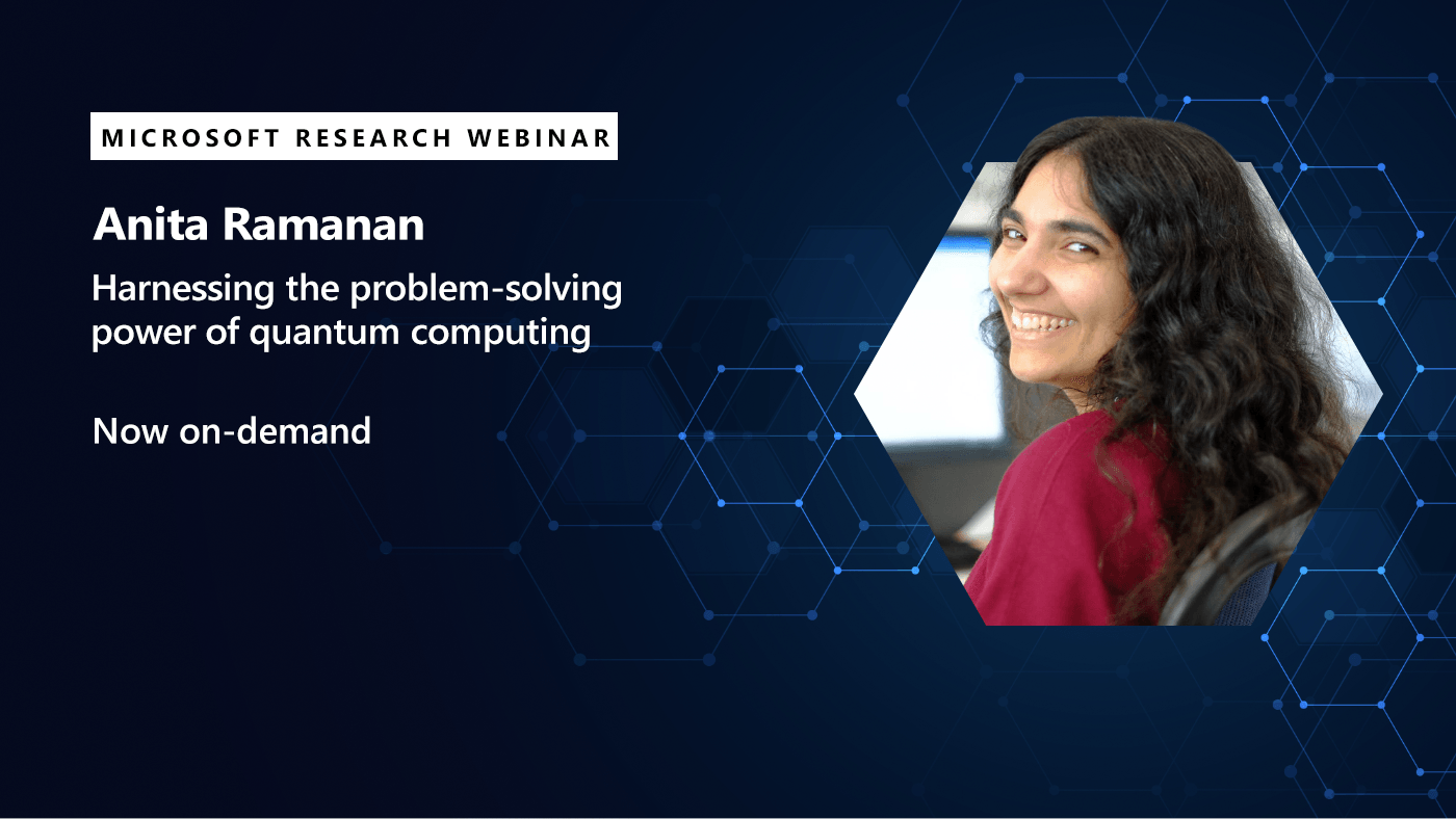 A picture of Anita Ramanan promoting her webinar available on-demand