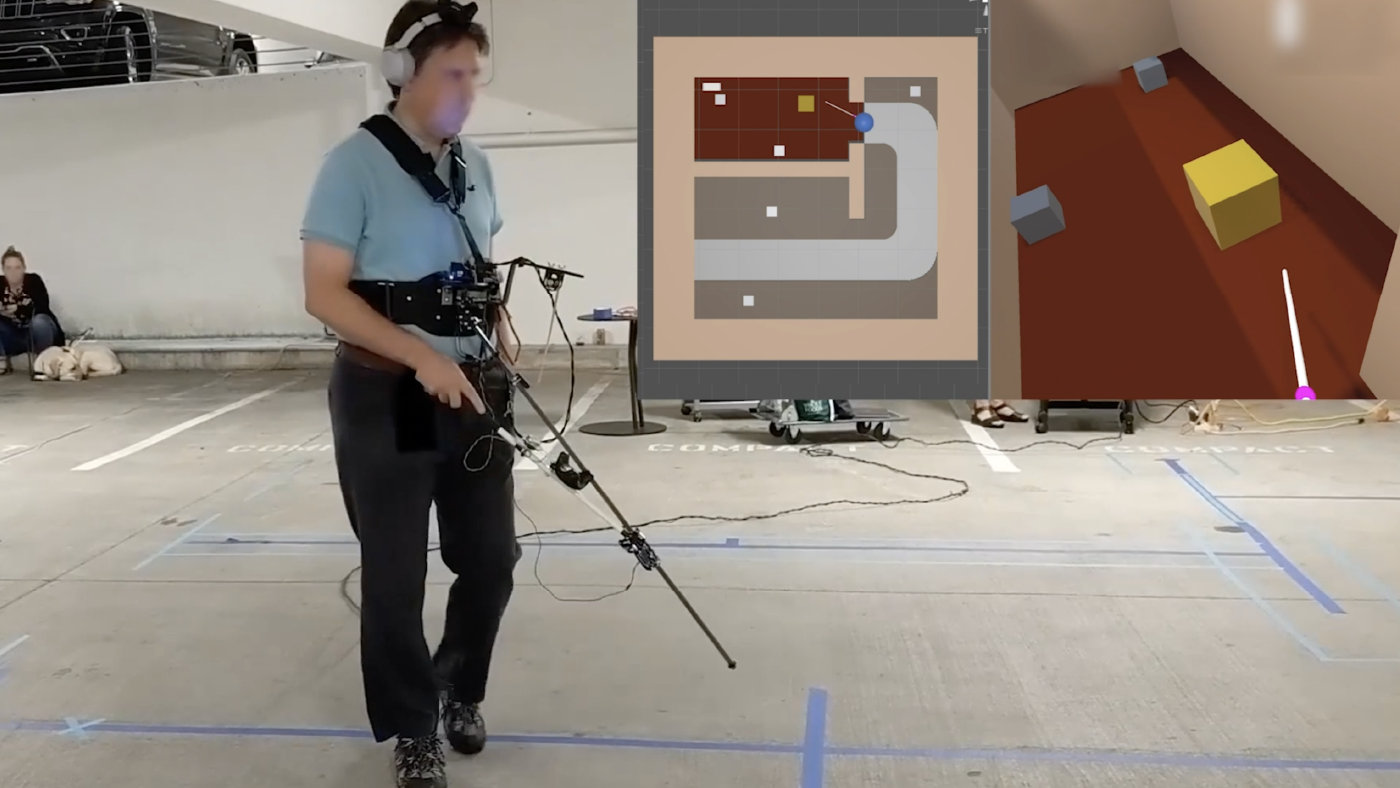 A man uses a VR white cane controller in an empty parking garage. Two small images in the upper right show a rendered overhead view of a room and a virtual white cane pointing at a yellow cube-shaped virtual object.