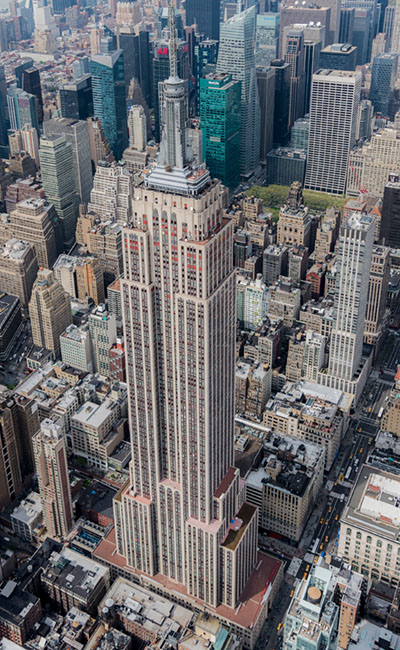 Aerial view of Empire State Building in New York
