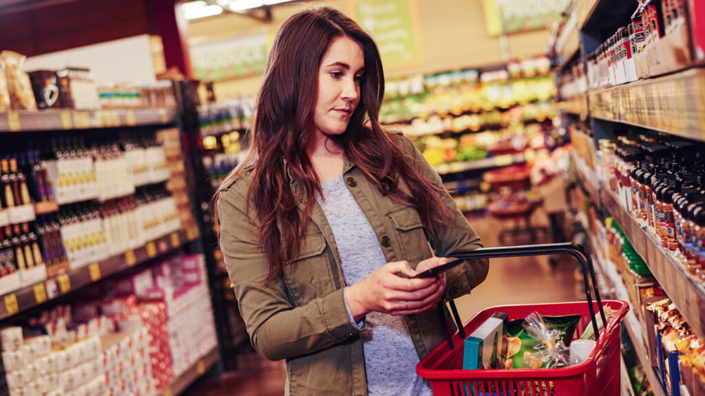 Image of a lady shopping in a grocery store