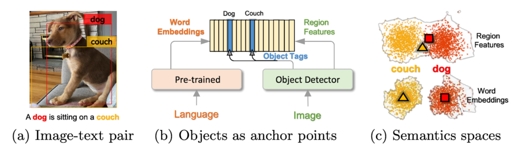 From left to right: A. Image-text pair. An image of a dog sitting on a couch with a box outlining the dog, labeled