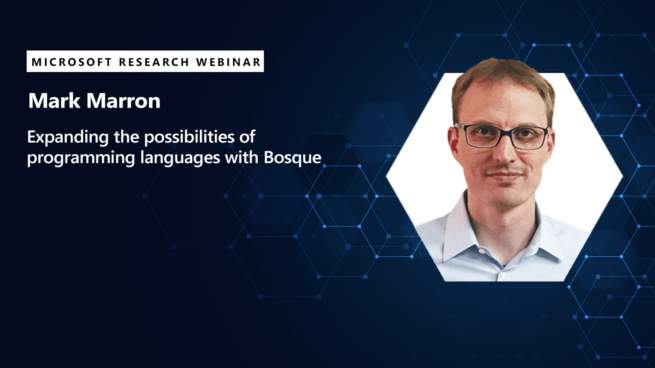 a promotional graphic for Mark Marron's rescheduled webinar on Bosque programming language.