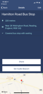 "Screenshot of a Marker's details page. The Marker is for 'Hamilton road bus stop' and the annotation reads ""covered bus stop with seating"". There is the option to share this Marker, or to Set and Audio Beacon on it"