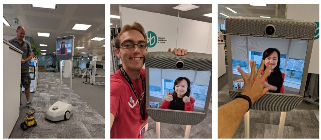 A series of three photos chronicling Sunny Zhang's tour of the Microsoft Research Cambridge lab via telepresence robot.