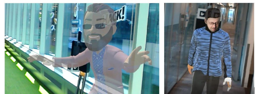 On the left, a cartoon representation of a person overlaid on a telepresence robot moving in the hallway of an office. On the right, a photorealistic representation of a person overlaid on a telepresence robot moving in the hallway of an office.