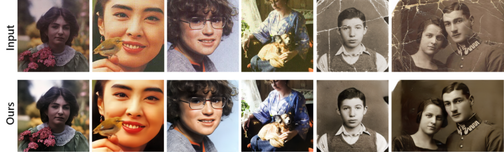 Six different images show the original photo and a much improved version after being run through the model. Image one: a faded image if a girl holding flowers. Image two: A headshot of a faded woman smiling and holding a bird perched on her hand in front of her face. Image three: a faded and discolored image of young person with long hair and glasses with a forced smile. Image four: A faded and discolored image of a woman wearing a dress with a dog in her lap. Image five: A cracked and bent black and white image of a boy wearing a vest and dress shirt. Image six: a severely cracked black and white image of a couple. The man wears a vintage military uniform and the woman wears a vintage dress. All of the images have a similar high quality with imperfections removed after being run through the model.
