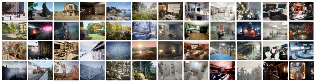 Approximately 50 images of various simulated environments. They include: sunsets, futuristic science fiction cityscapes, nature scenes, and both city and rural environments.