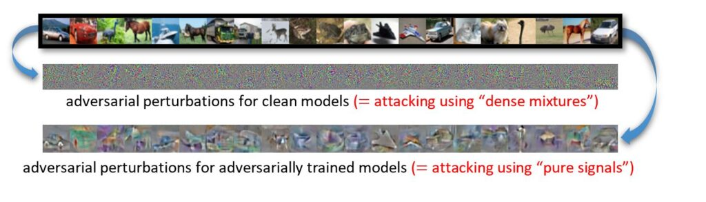 """A row of the CIFAR-10 images, various animals and vehicles. An arrow from this row points to a row below that, a row of abstract, multicolored dots. Caption for this row reads: adversarial perturbations for clean models (= attacking using """"dense mixtures""""). An arrow also points from the CIFAR-10 image set to another row below, which shows the same images that are slightly blurred and gray, representing adversarial training. Caption for row reads: adversarial perturbations for adversarially trained models (= attacking using """"pure signals"""")."""