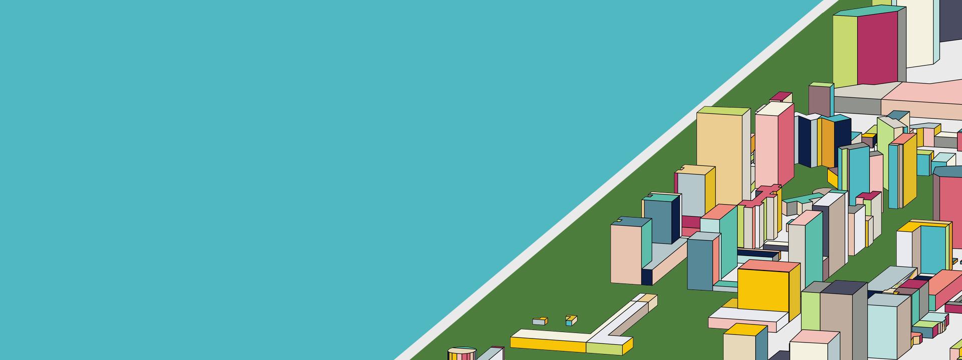 simple geometric illustration of futuristic city