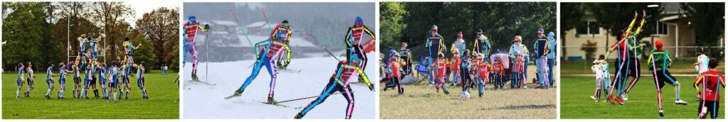 4 images from left to right. Bright neon colors show straight lines connected to dots showing pose estimation results: 1. A team wearing uniforms forms a human pyramid on a playing field. 2. Five cross country skiers ski across a snow-covered track. 3. Children playing soccer on a grass field while adults stand behind them as spectators against a backdrop of trees. 4. An ultimate frisbee player jumps to grab a frisbee and a defender also jumps in front. Another player stands in the foreground watching.