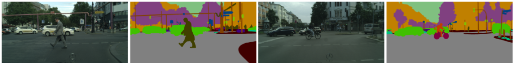 4 images from left to right: 1. A man in a suit walking across a street carrying a briefcase. 2. A color segmentation of image one. Trees behind man are purple, cars behind man are green, curb in foreground in dark red. Building to the right and behind the man are orange. The sky is teal. 3. An image of a person riding a bike across a street. 4. A color segmentation of image 3. The trees behind the cyclist are purple. The cars behind the cyclist are green. The buildings behind the cyclist are orange. The sky is teal.