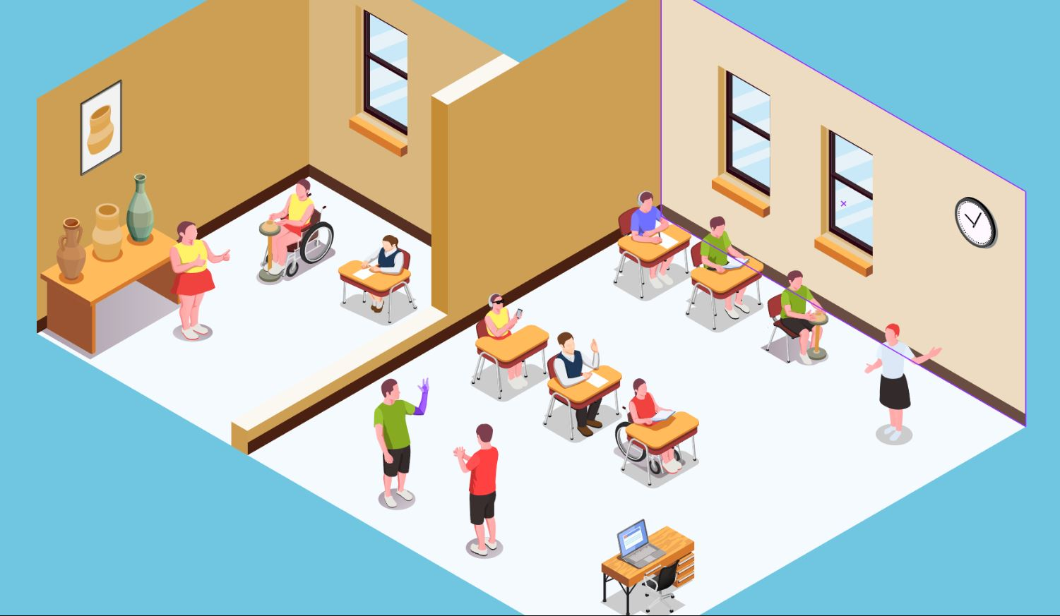 Graphic art of two classrooms with students and teachers