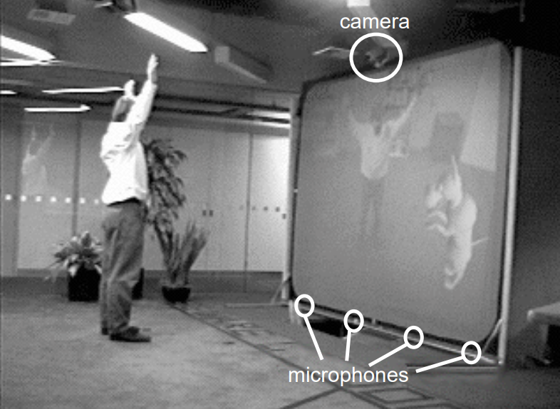 audio and acoustics: man standing in front on a large VR screen with hands up