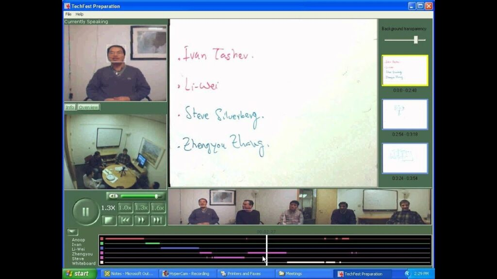 audio and acoustics: project RingCam video conference screen