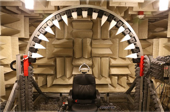 The Microsoft Research anechoic chamber set for measuring human spatial hearing.