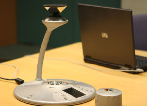 photo of the Microsoft RoundTable video conferencing device
