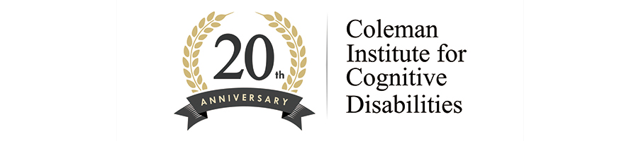 20th Anniversary Coleman Institute for Cognitive Disabilities logo
