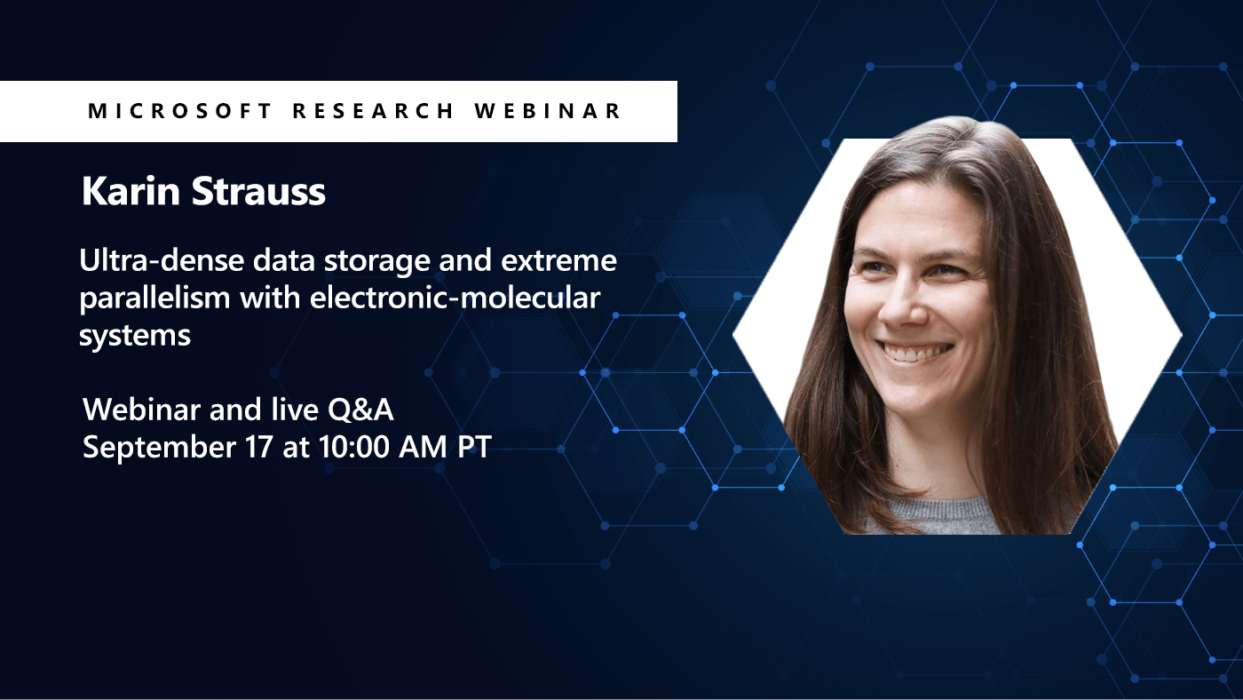 Picture of Karin Strauss promoting her webinar on DNA storage
