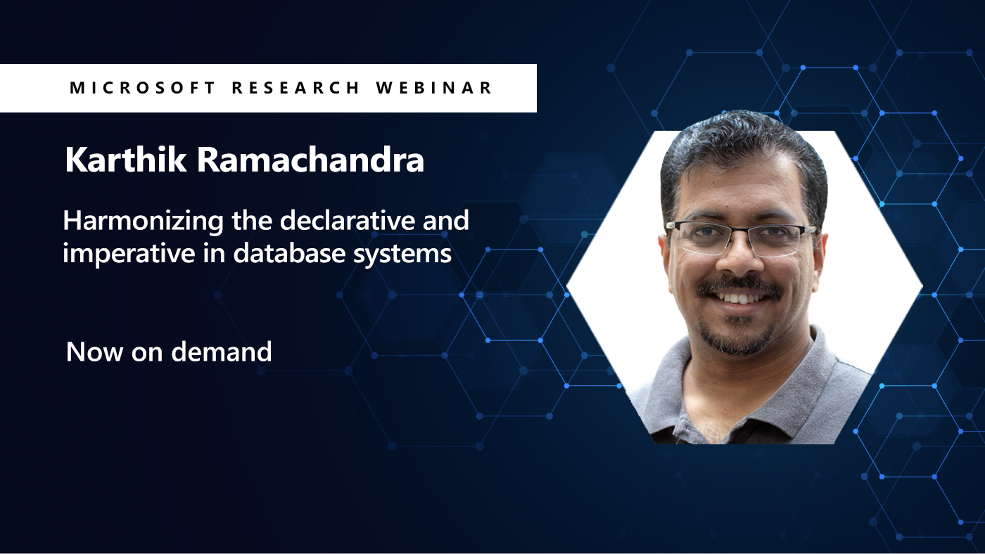 picture of karthik smiling next to the title of his webinar