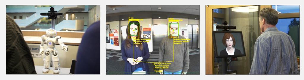 A group of three images arranged side-by-side: a humanoid robot gesturing with its left arm to two people; the view from the robot's perspective, with face-tracking rectangles overlaid on the two people's faces; and an embodied virtual agent on a screen talking with a man outside of his office.