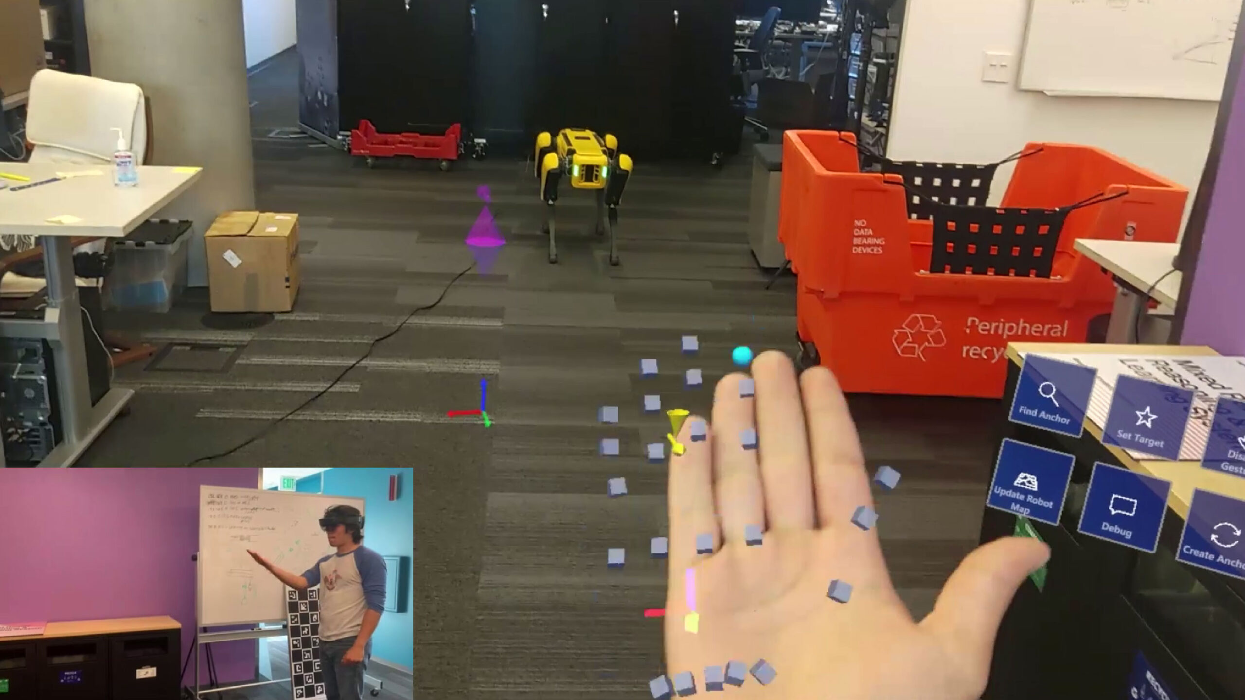 Enabling interaction between mixed reality and robots via cloud-based localization