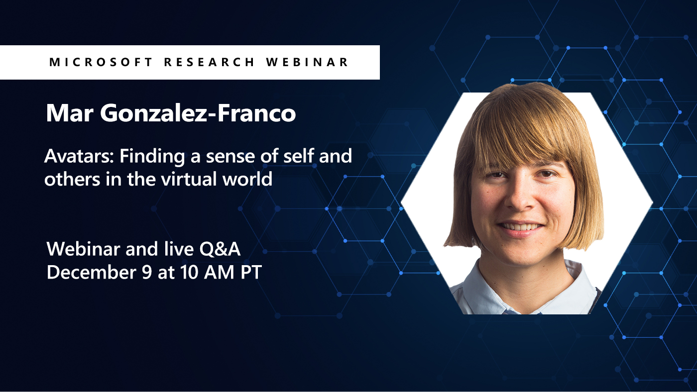 A picture of Mar Gonzalez Franco next to her webinar title about Avatars