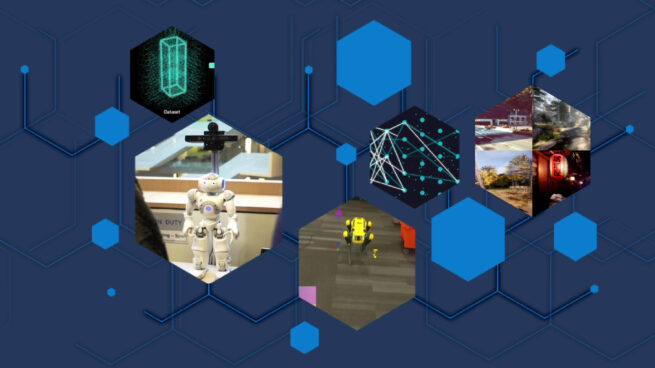A collage graphic displays various research projects from the 2020 year