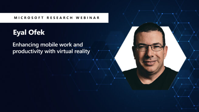 a picture of eyal next to his webinar title on virtual reality