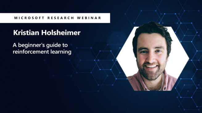 a picture of kristian holsheimer next to his webinar title beginners guide to reinforcement learning