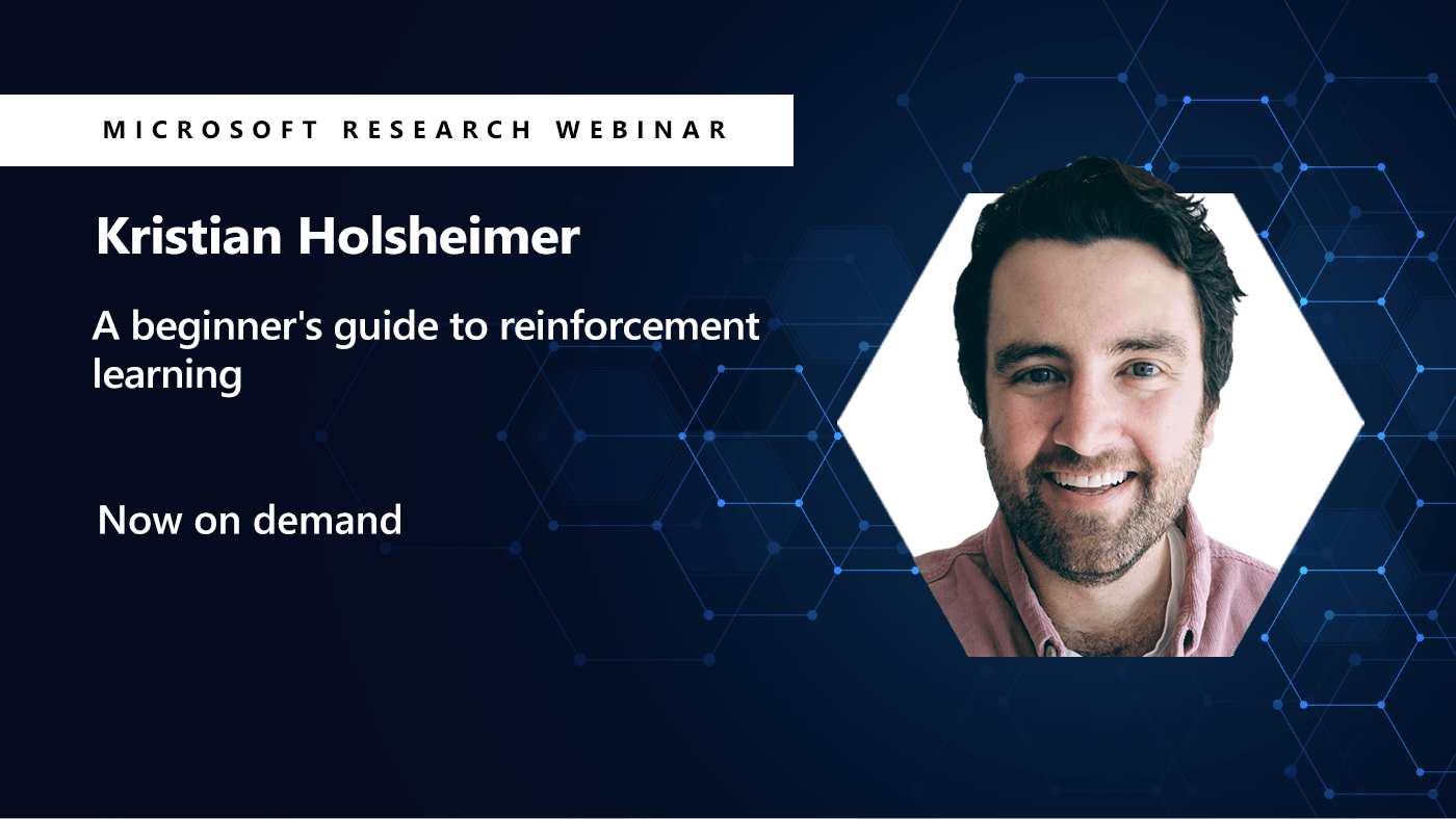a picture of kristian Holsheimer next to his webinar on reinforcement learning