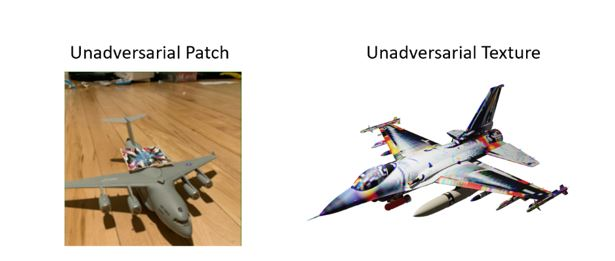 At left a gray toy jet with an unadversarial patch patterned in bright colors affixed to its body. At right a 3D rendering of a jet designed in the unadversarial texture, which is white with a variety of colors along the jet's wings, nose, and tail.