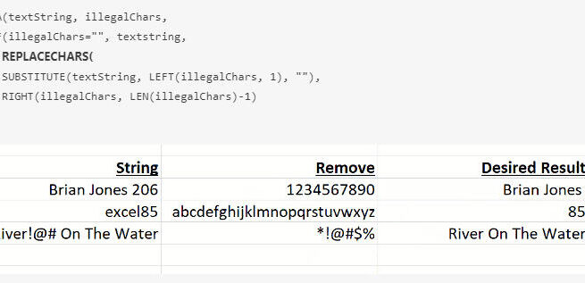 In this example, a LAMBDA function called REPLACECHARS repeatedly calls itself until every unwanted character has been removed.
