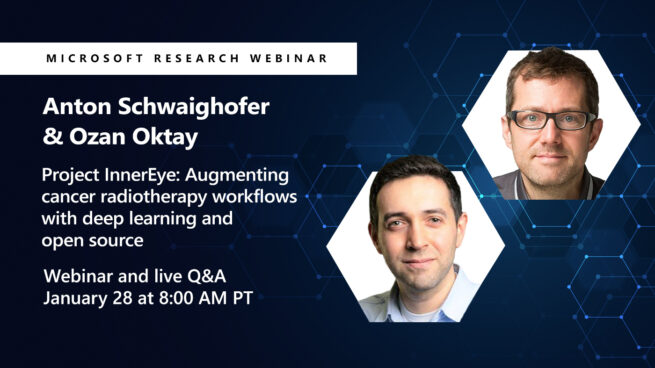 two head shots of Ozan and Anton promoting their webinar on InnerEye
