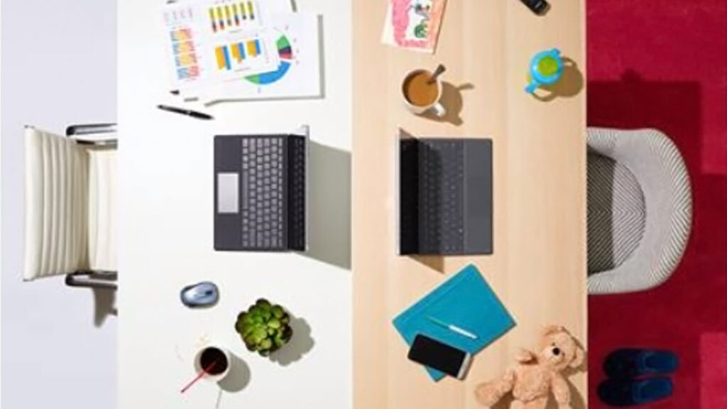 New Future of Work: photo of two desks back to back