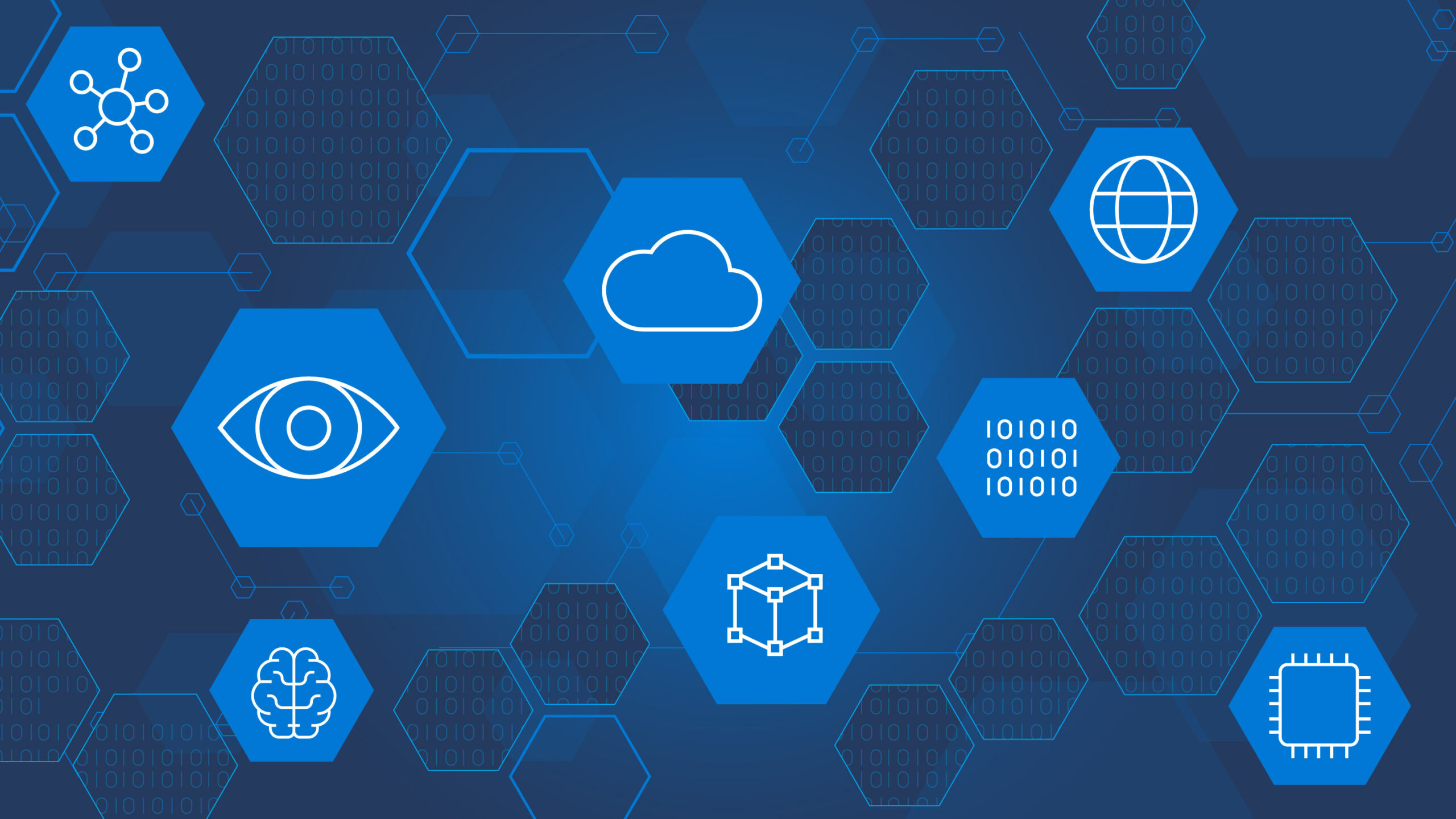 Graphic shows blue background with hexagons that each have a icon related to technology concepts i.e. cloud, binary code, eye, microchip, etc.