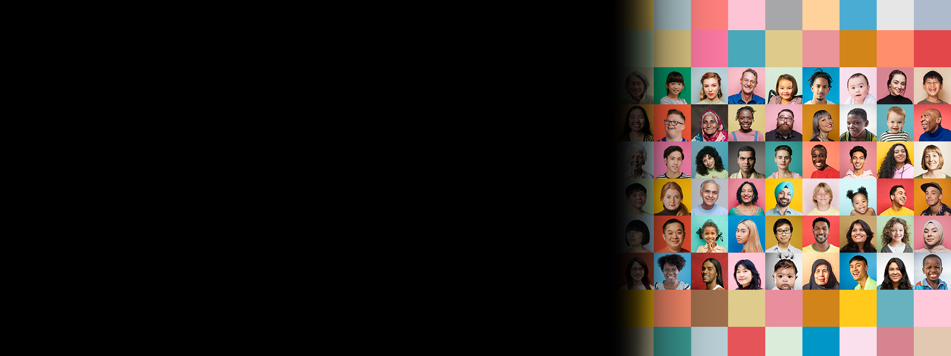 Global Health Access header: grid of people on black background