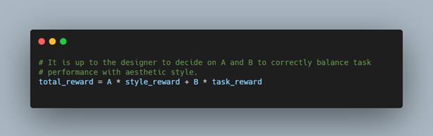 A screenshot with the equation total_reward = A * style_reward + B * task_reward.