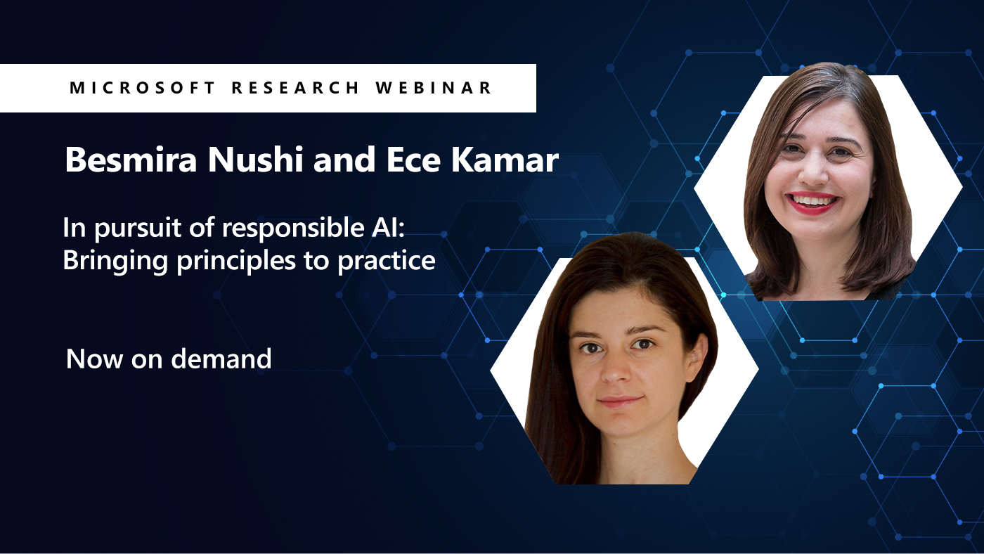 two small pictures of besmira and Ece next to the title of their webinar on tooling fore responsible AI