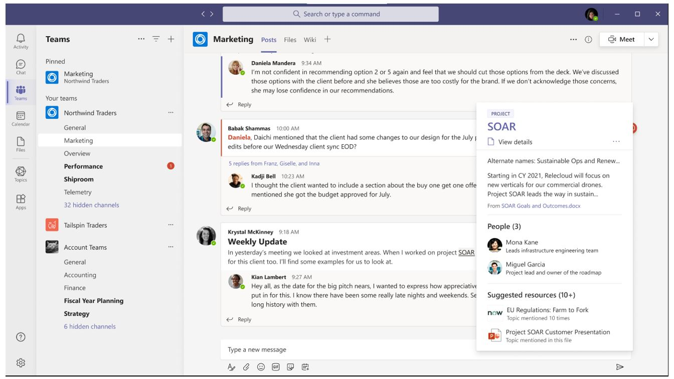 Figure 1: A screenshot of a Microsoft Teams conversation with a callout box providing additional information about people and related resources