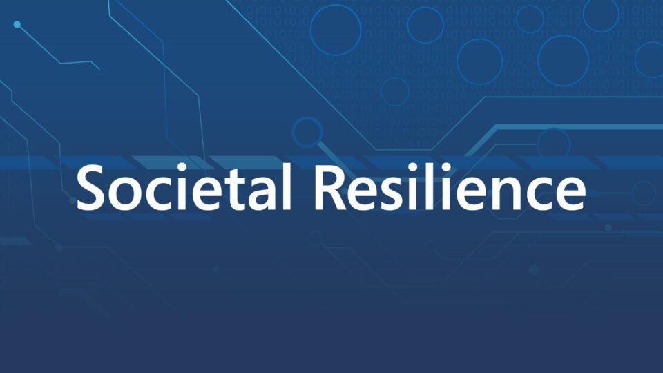 societal resilience text on blue backdrop