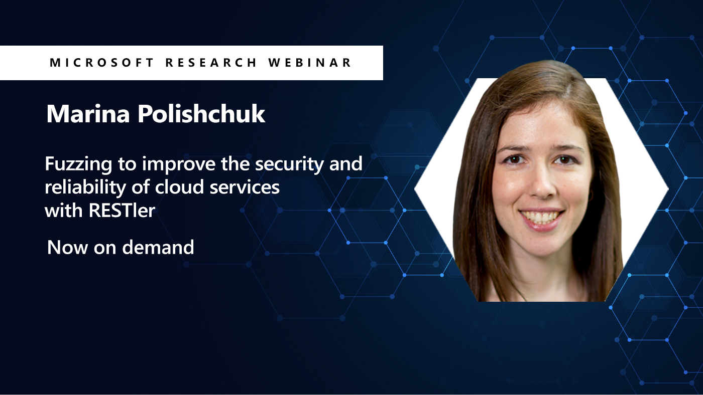 Marina smiling for the camera in a hexagon next to her webinar title