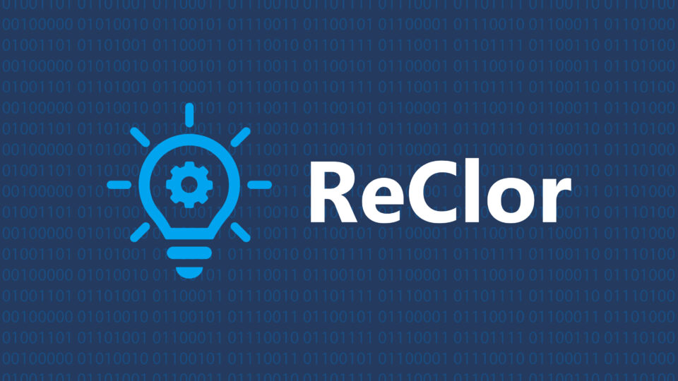 Graphic with the word ReClor in the center along side an icon of a lightbulb. Binary code makes up the backdrop of this graphic.