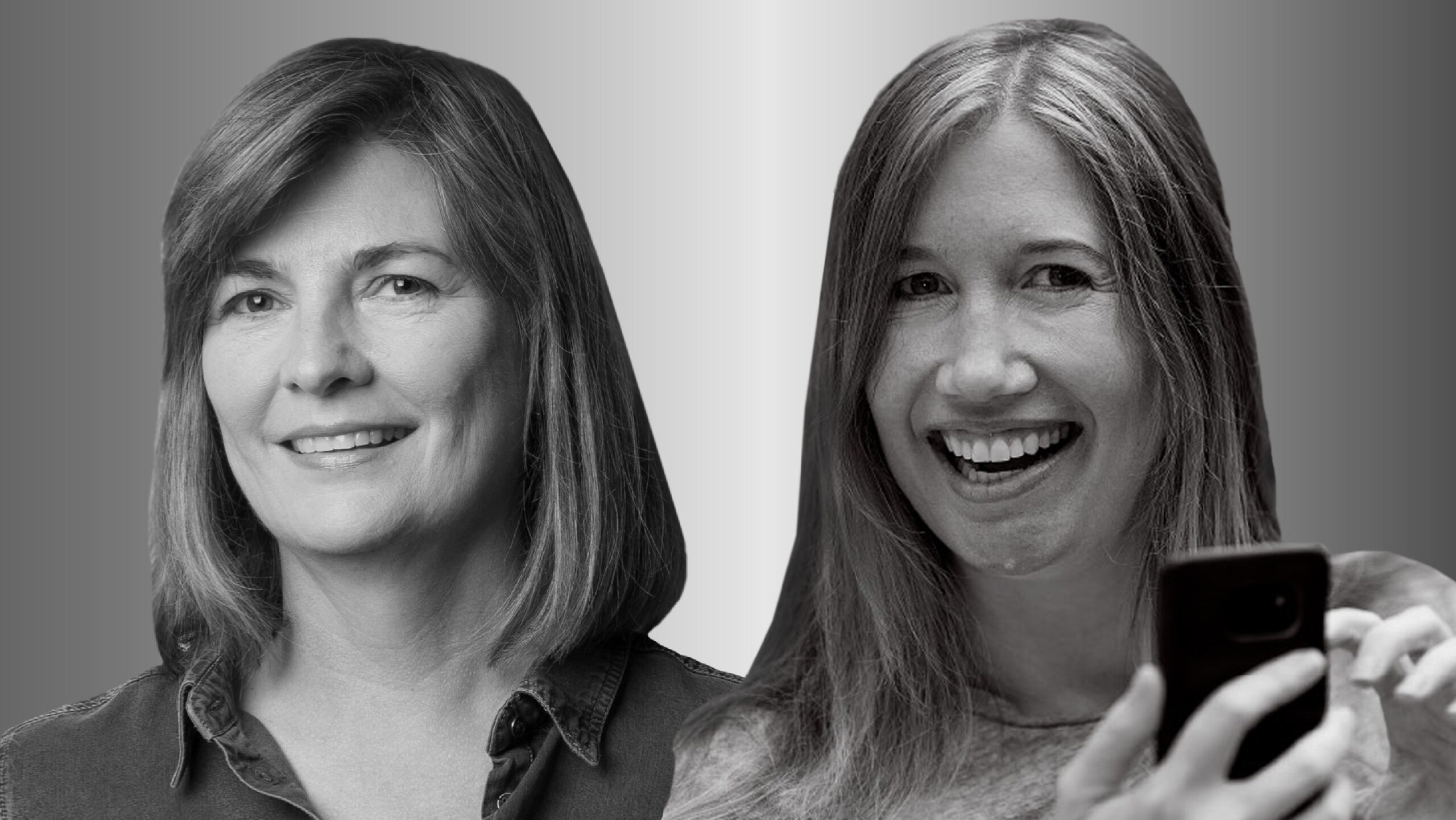 Two women side by side, Abigail Sellen on the left and Jaime Teevan on the right, in black and white smile and look forward. Teevan is holding a cell phone.