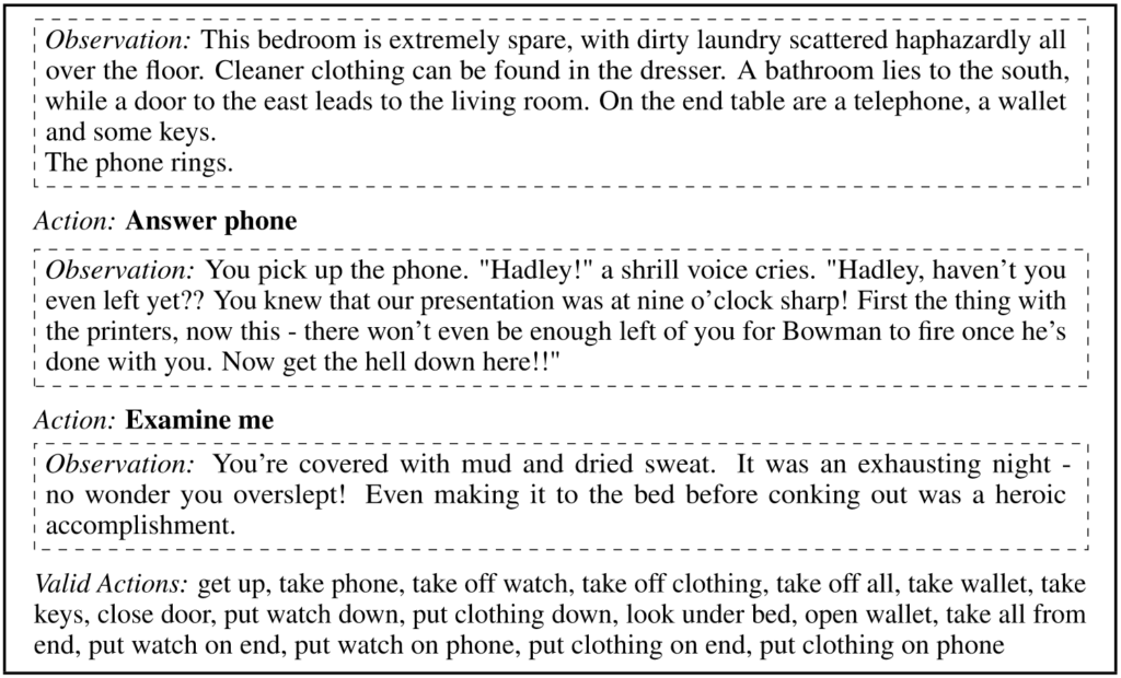 """Example from text-based game. From top to bottom: Box with dotted line reads """"Observation: This bedroom is extremely spare, with dirty laundry scattered haphazardly all over the floor. Cleaner clothing can be found in the dresser. A bathroom lies to the south, while a door to the east leads to the living room. On the end table are a telephone, a wallet and some keys. The phone rings."""" Action: Answer phone Box with dotted line reads """"Observation: You pick up the phone."""